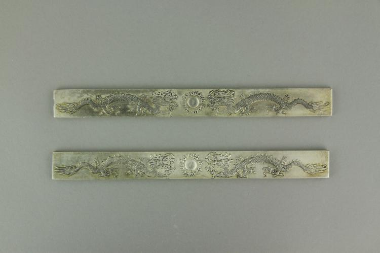 Pair of Chinese Silver Paper Weights Zu Yin Mark