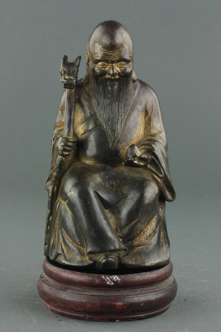 Chinese Gilt Bronze Happy Man