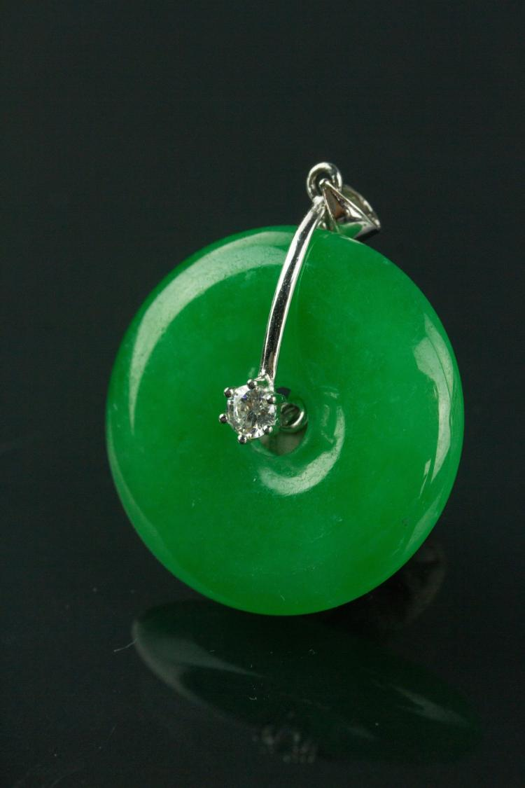 Chinese Green Jade Small Disc Pendant w/ 925 Bail