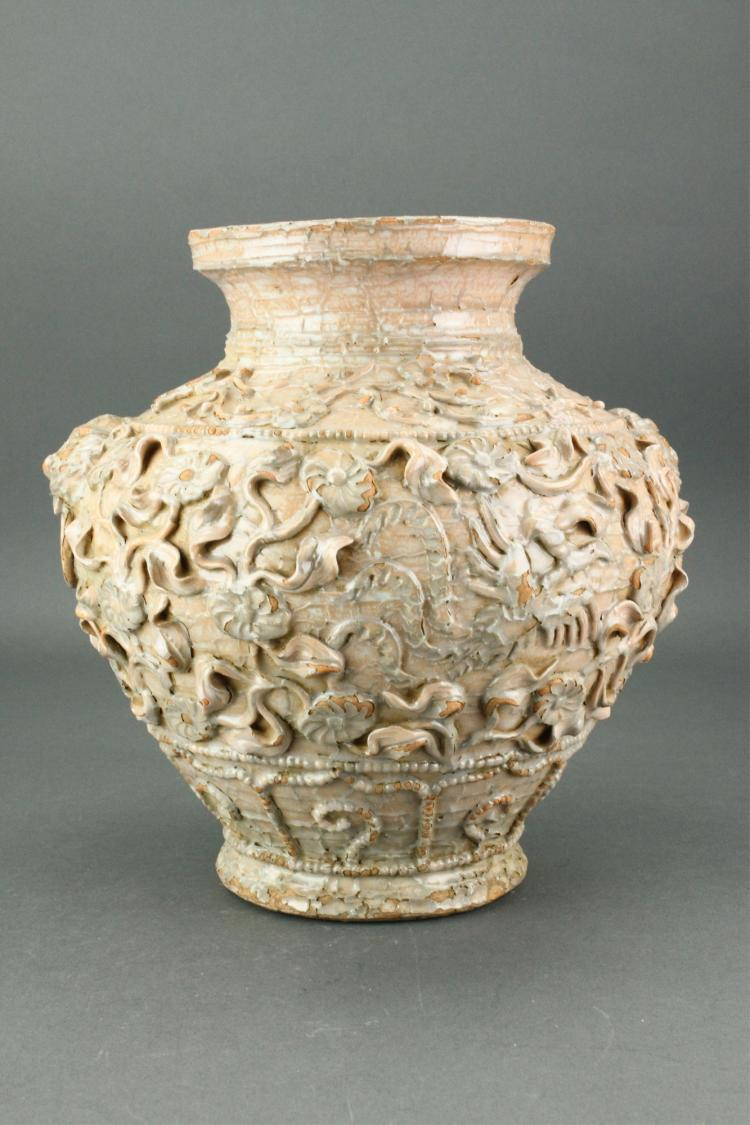 Chinese Scrollwork Carved Pottery Jar