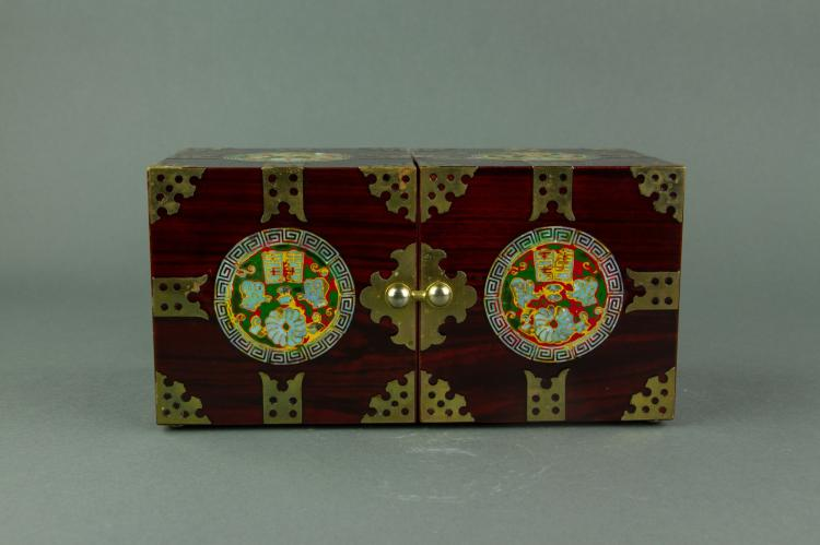 Chinese Conjoined Wooden Jewellery Box