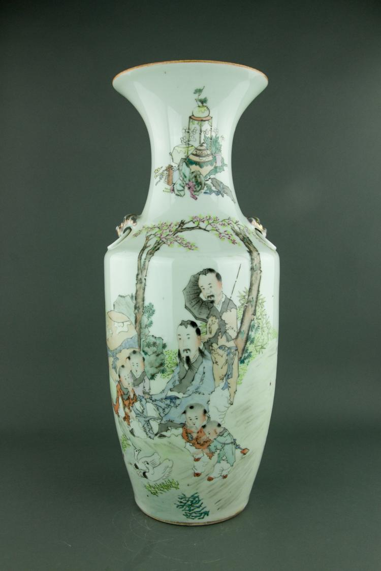 Large Famille Rose Porcelain Vase Ma Qingyun Mark
