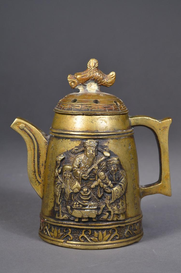 Chinese Pixiu Bronze Tea Pot & Fu Lu Shou Marked
