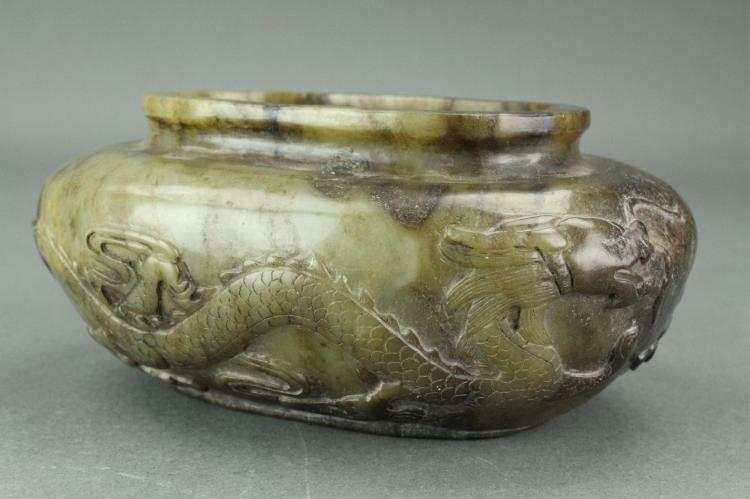 Chinese Green Jade Dragon Waterpot