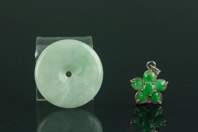 Two Pieces of Green Jadeite Pendants