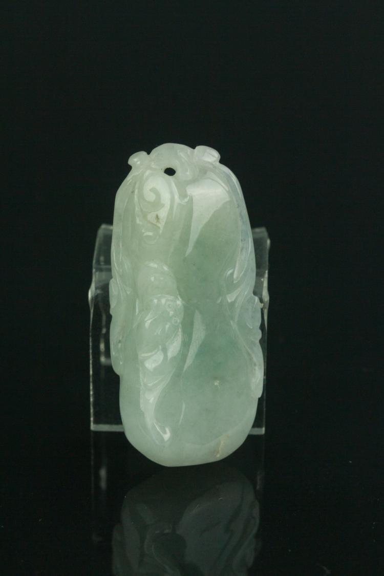 Chinese Fine White Jadeite Carved Pendant w/ Cert