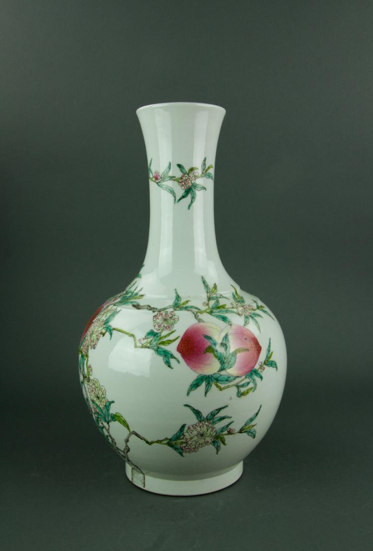 Famille Rose Peach Porcelain Vase Qianlong Mk