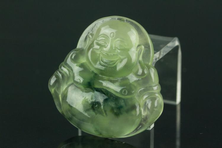 Chinese Icy Green Jadeite Buddha Pendant