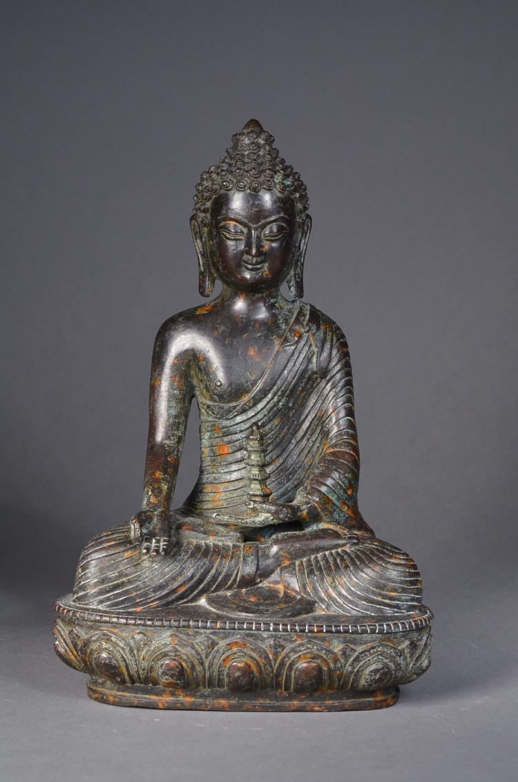 Chinese Bronze Figure Guanyin Holding Tower Censer