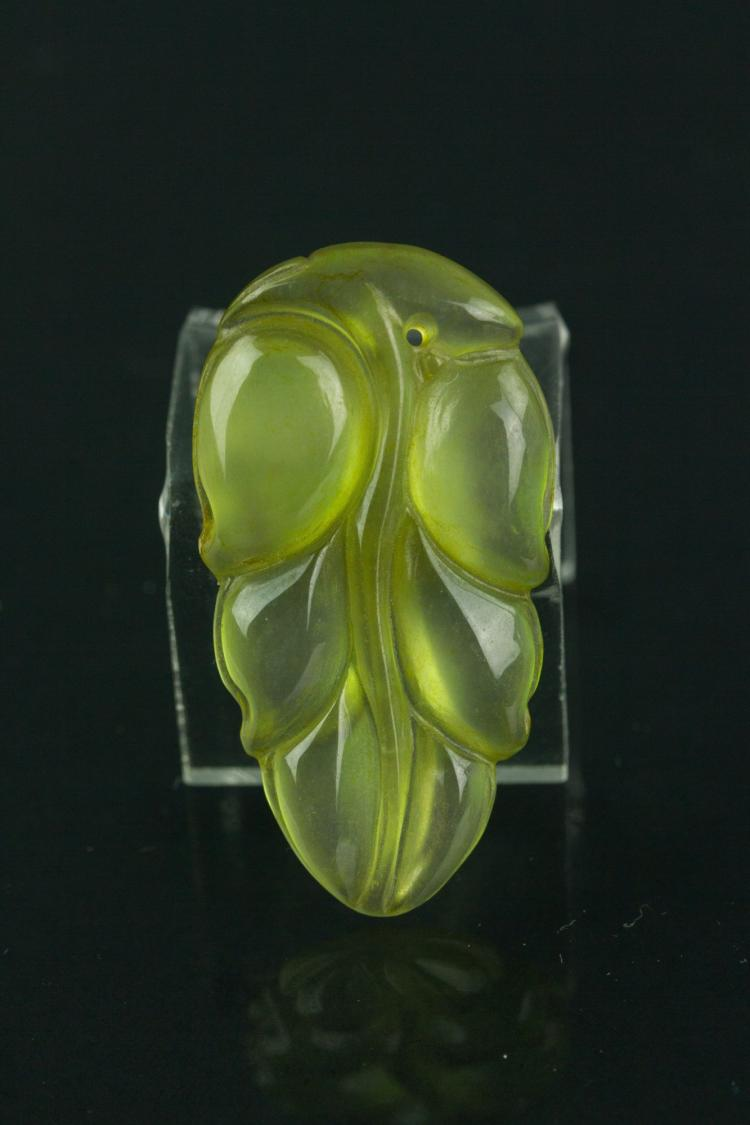 Chinese Icy Green Jade Leaf Pendant