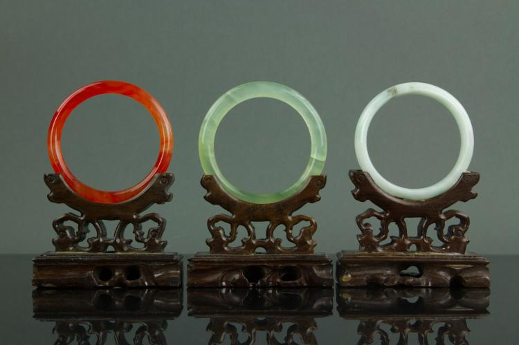 Set of 3 Jadeite and Hardstone Bangles