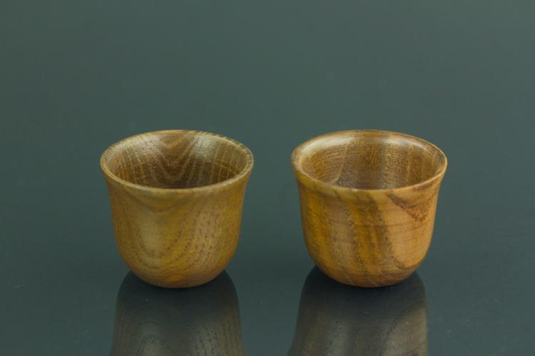 Pair of Chinese Wooden Cups