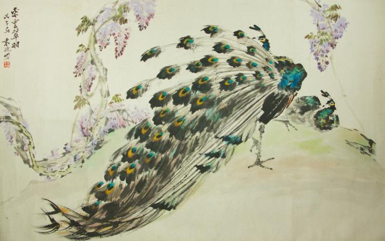 Yuan Xiaocen 1915-2008 Watercolour on Paper Scroll
