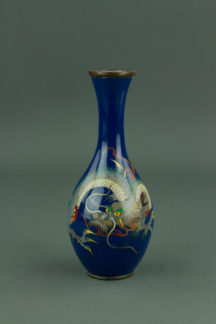 Chinese Blue Ground Bronze Cloisonne Dragon Vase