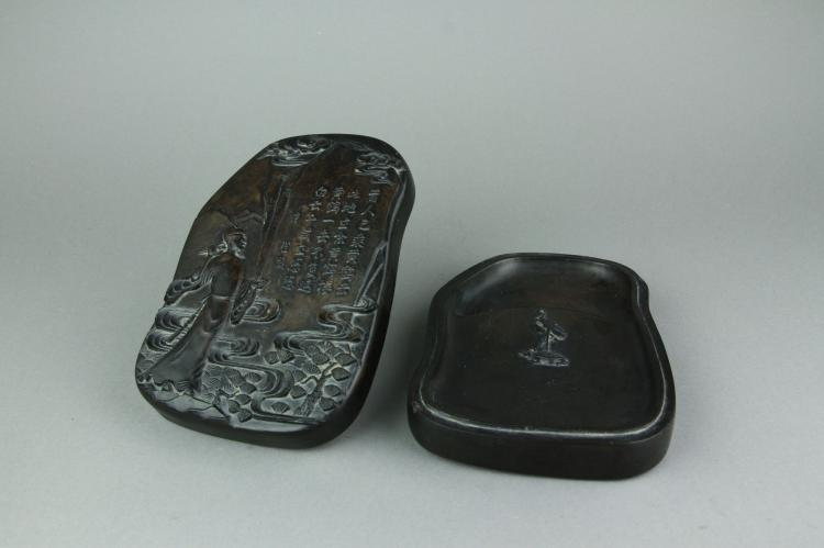 Chinese Rare Fine Ink Stone w/ Poem