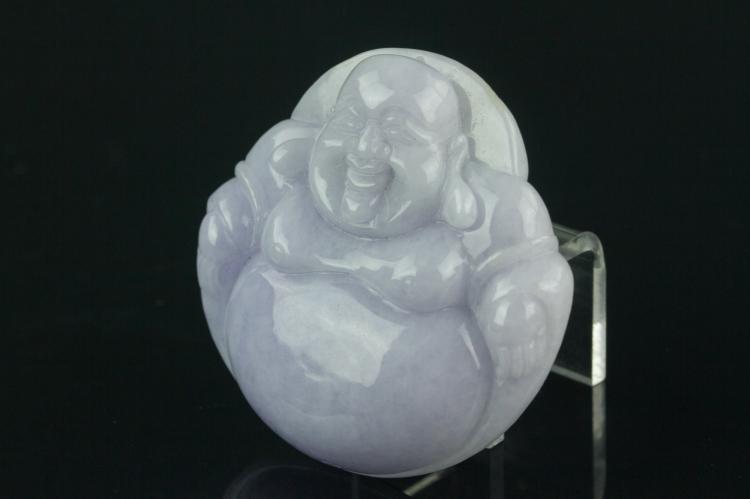Chinese Lavender Jadeite Buddha Pendant