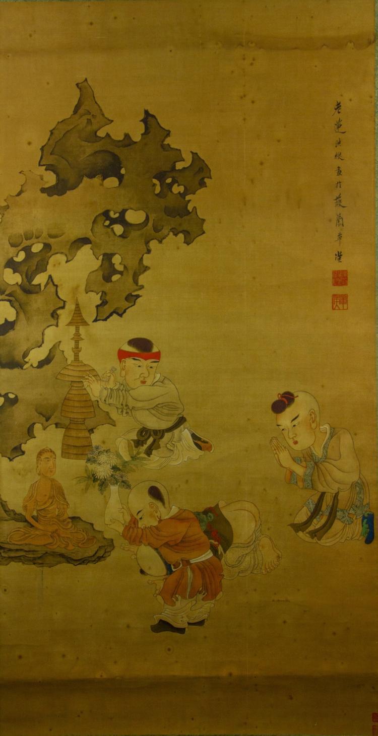 Chen Hongshou 1598-1652 Watercolour on Silk Scroll