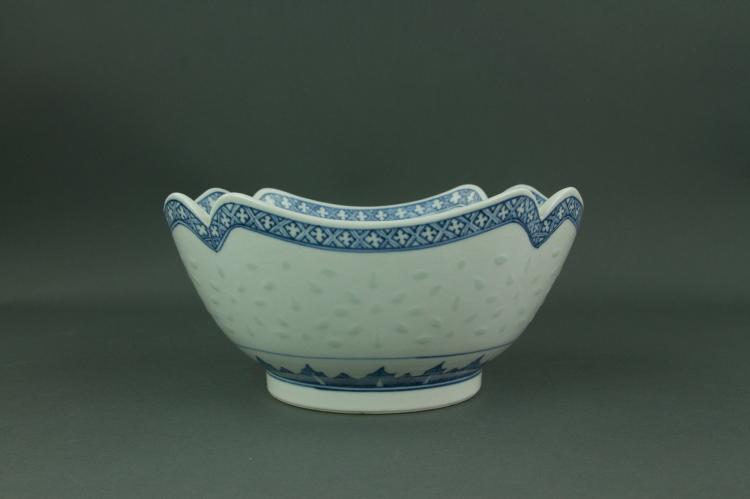 20th Century Blue & White Lobed Porcelain Bowl