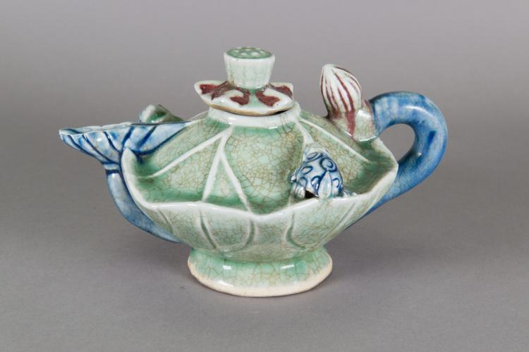 Chinese Tri-colour Porcelain Teapot Lotus Leaf