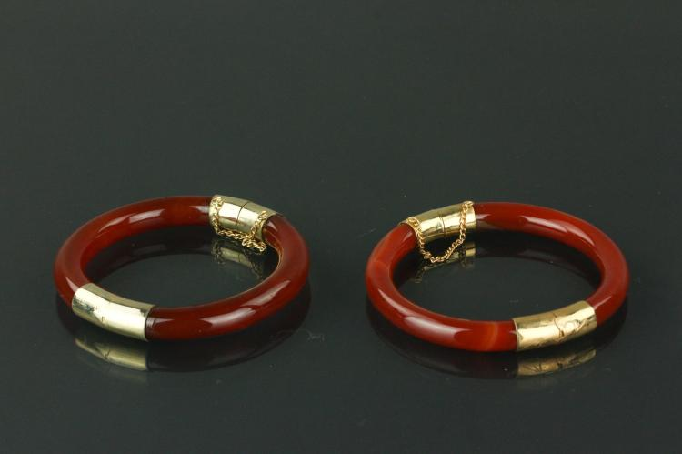 Pair of Chinese Agate Bangles with Gilt Clasps