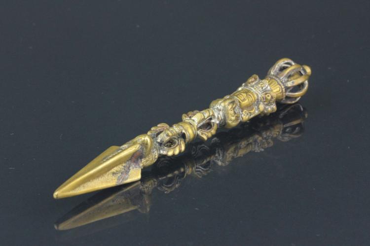 Chinese Tibetan Bronze Phurba Dagger