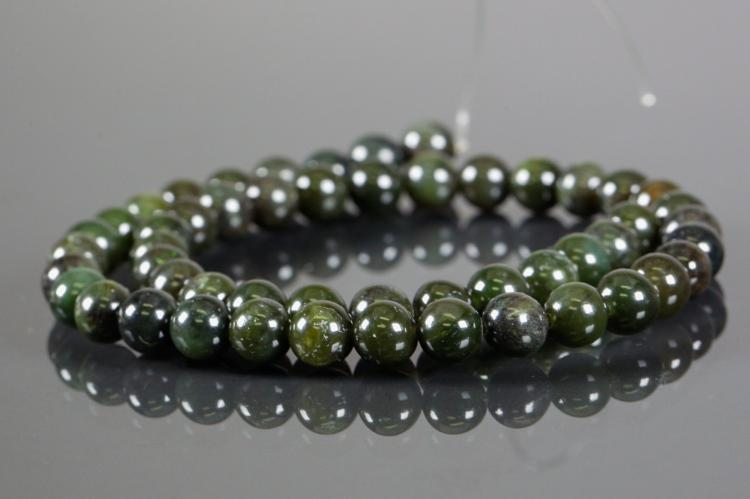 Dark Green Natural Jade 8mm Bead Strand