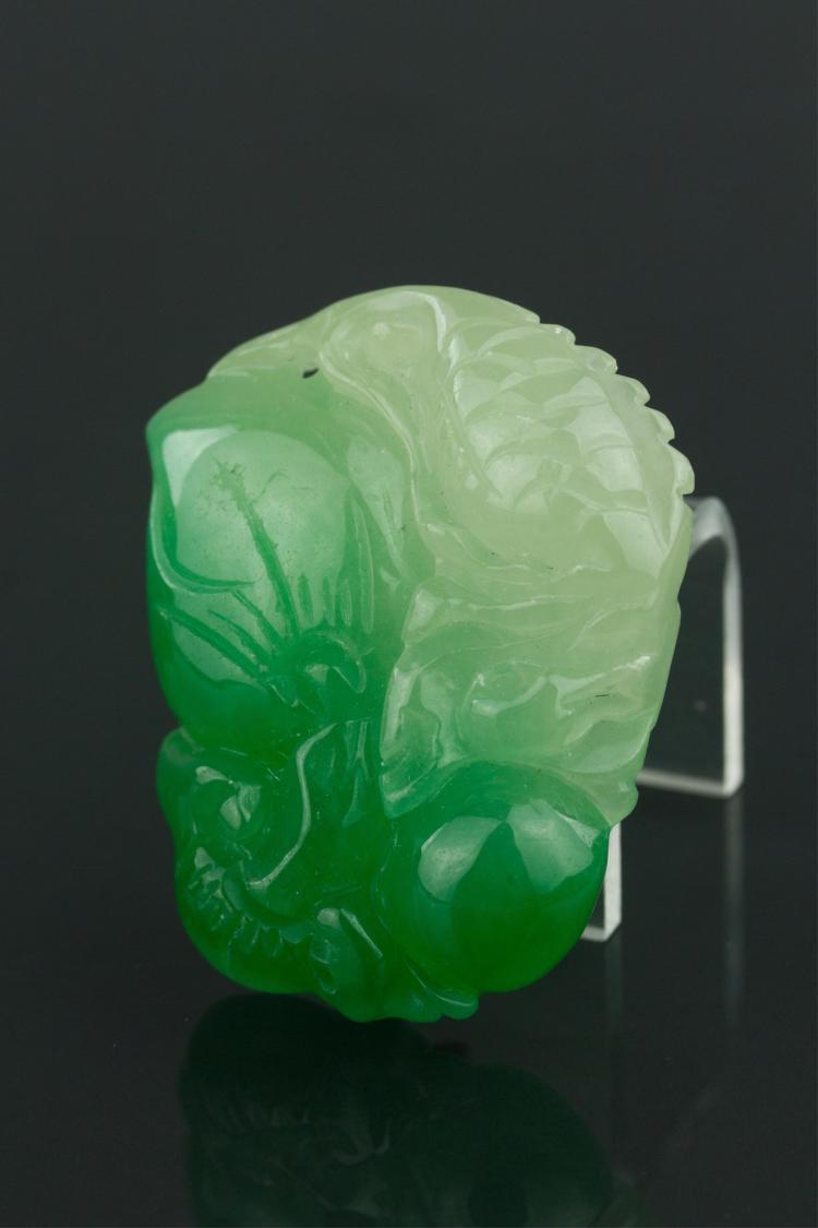 Chinese Green Jadeite Fish Pendant