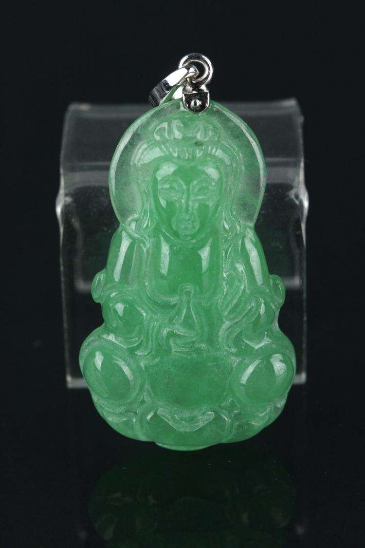 Chinese Green Jade Guanyin Pendant 18K Bail