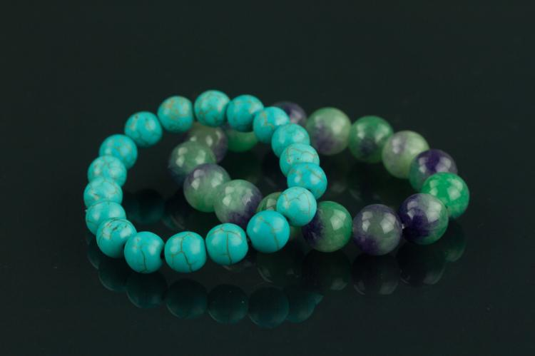 2 Pieces of Chinese Agate & Turquoise Bracelets