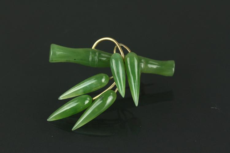 Chinese Green Jade Bamboo Brooch 14K Mark