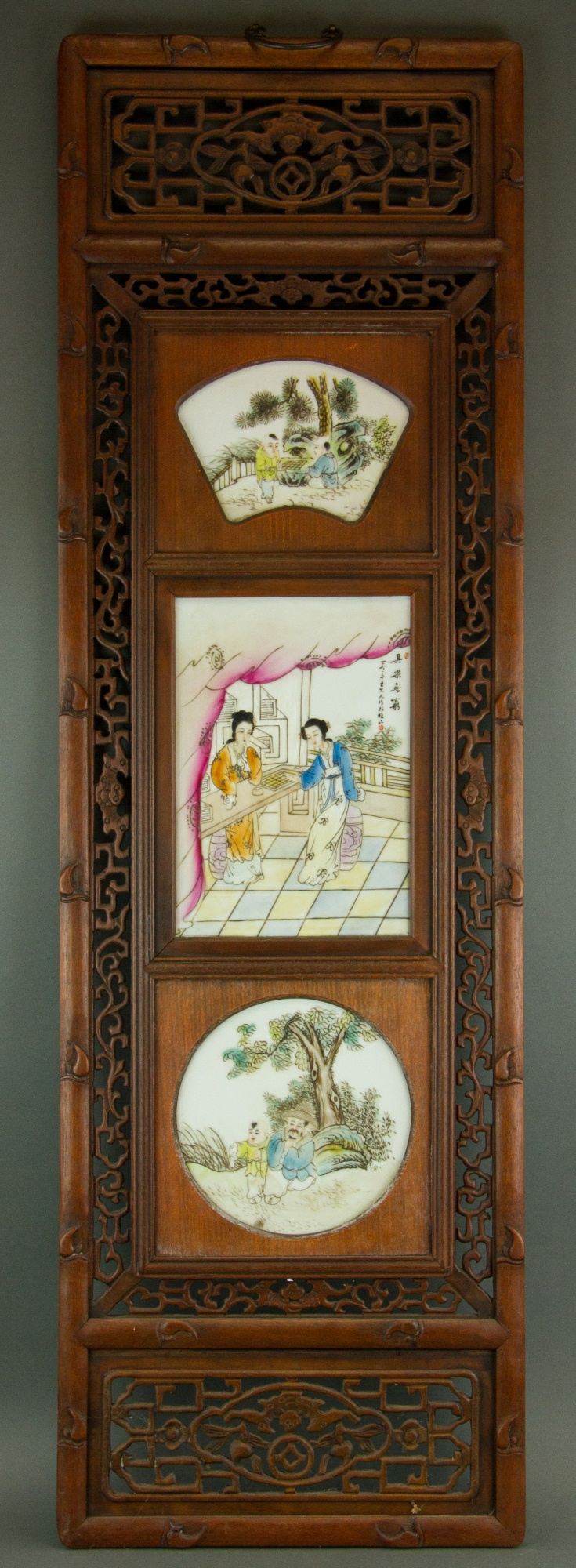Chinese Wood Panel Plague Signed Wang Dafan