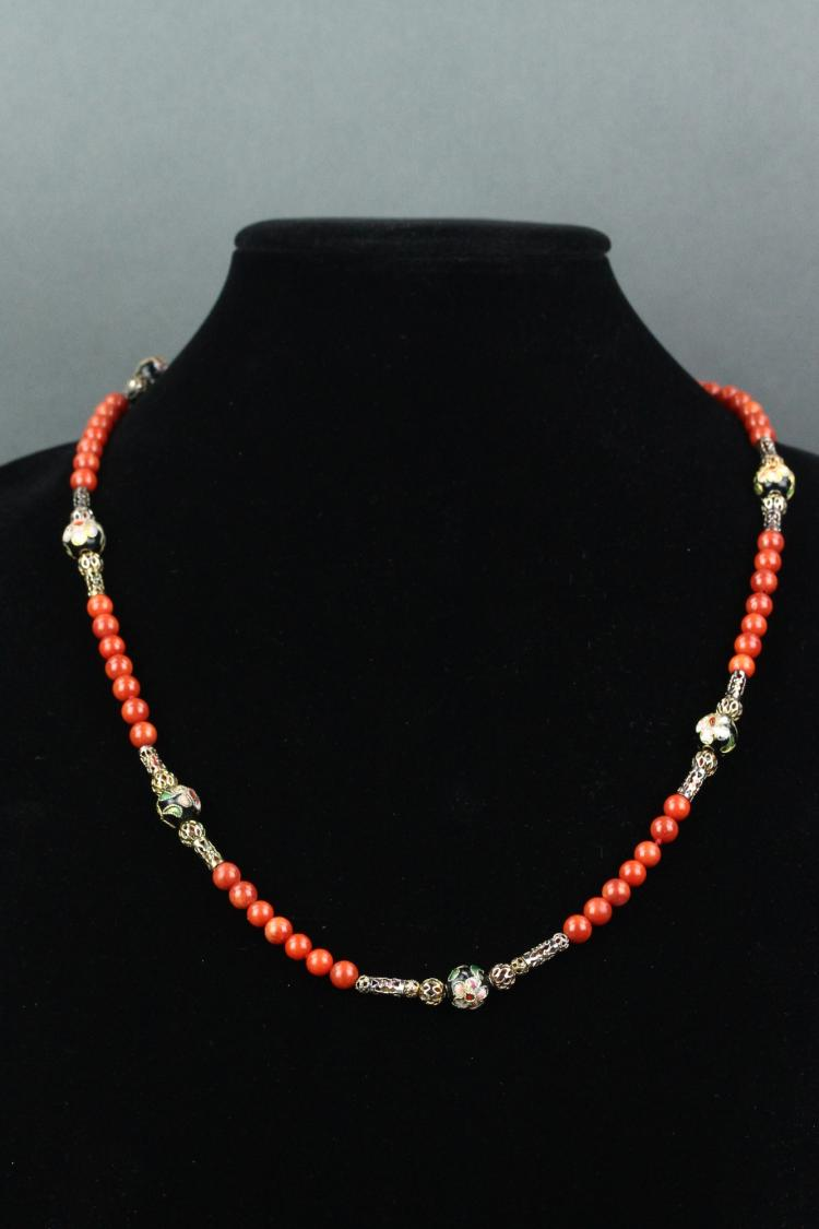 Chinese Coral with Stones Necklace