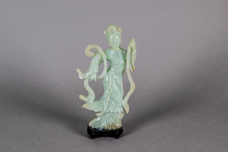 Chinese Green Jadeite Carved Lady Figure