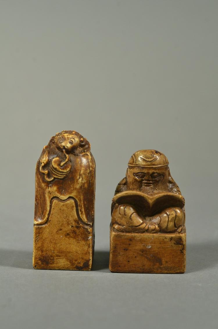 Pair Hardstone Seals of Reading Scholar & Frog
