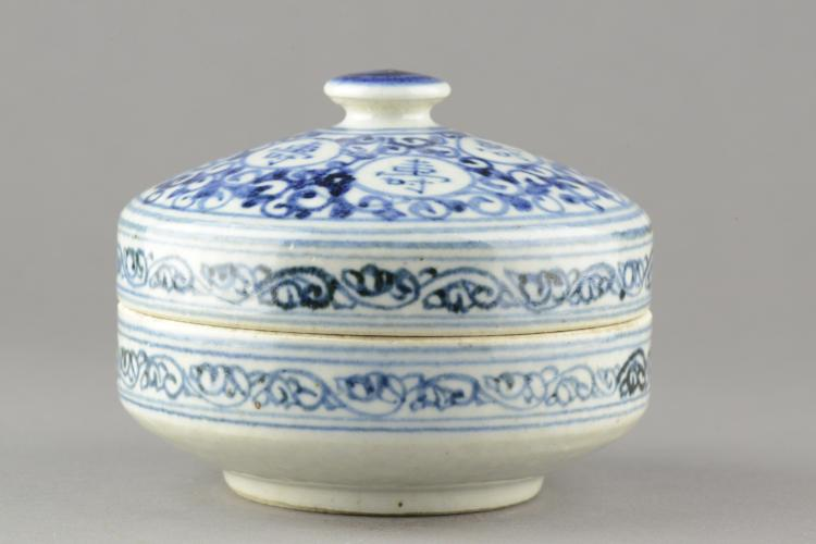 Chinese Blue and White Porcelain Box Qing Period