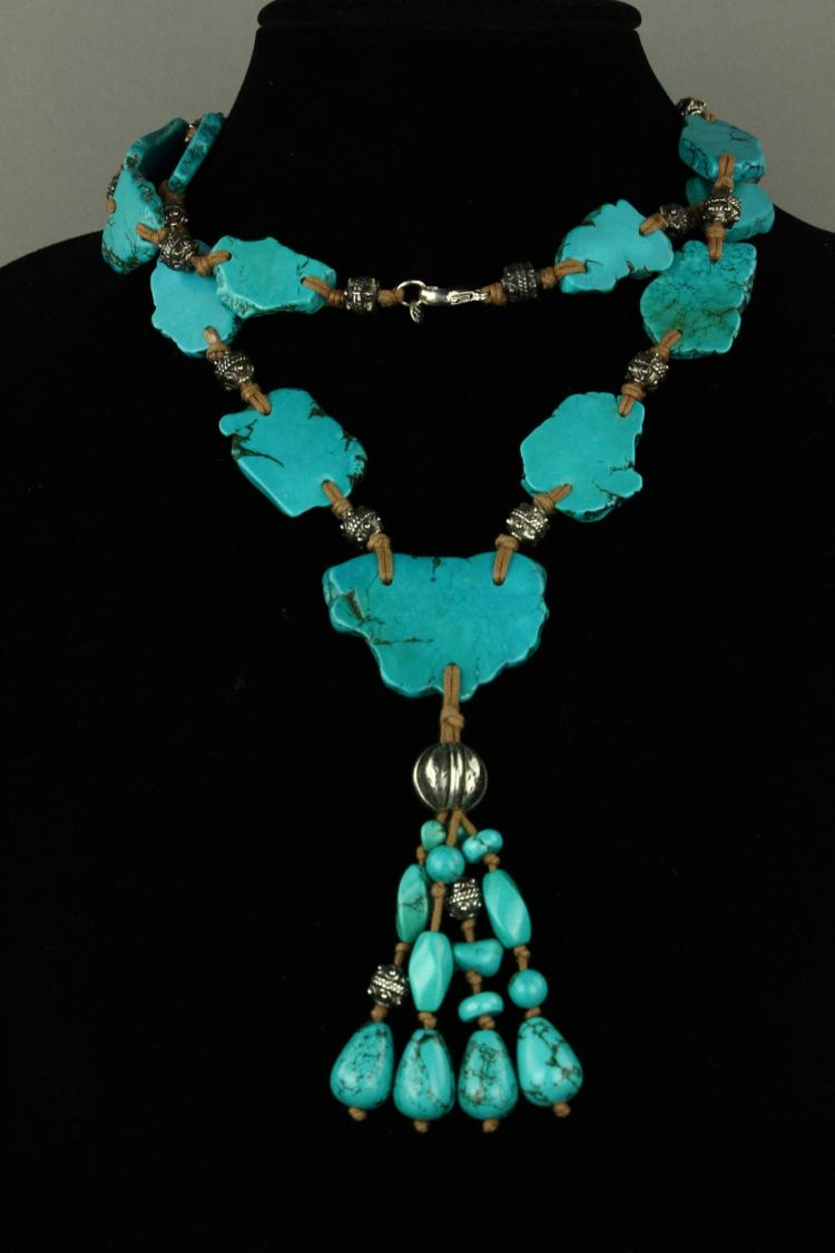 Chinese Turquoise with Sliver Necklace