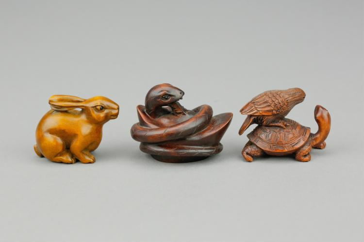 19th Century Three Japanese Boxwood Netsuke