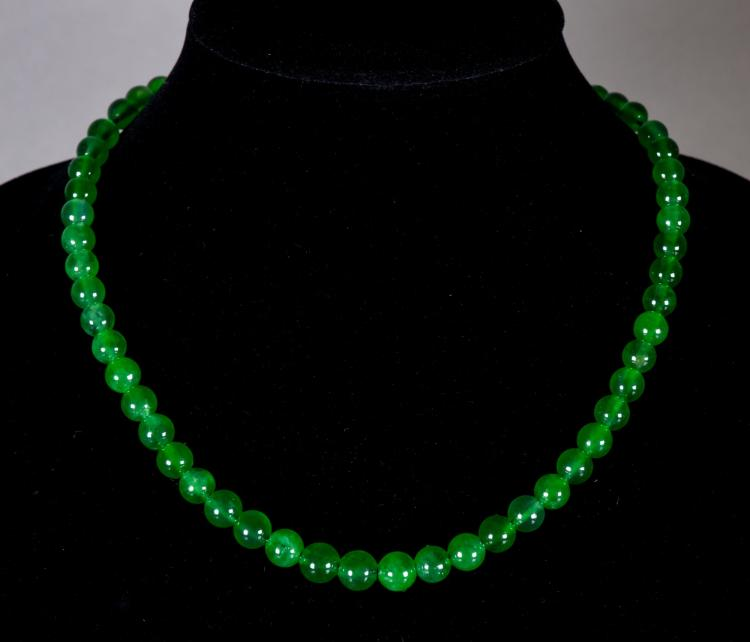 Chinese Green Jadeite Carved Necklace w/ 14K Mark