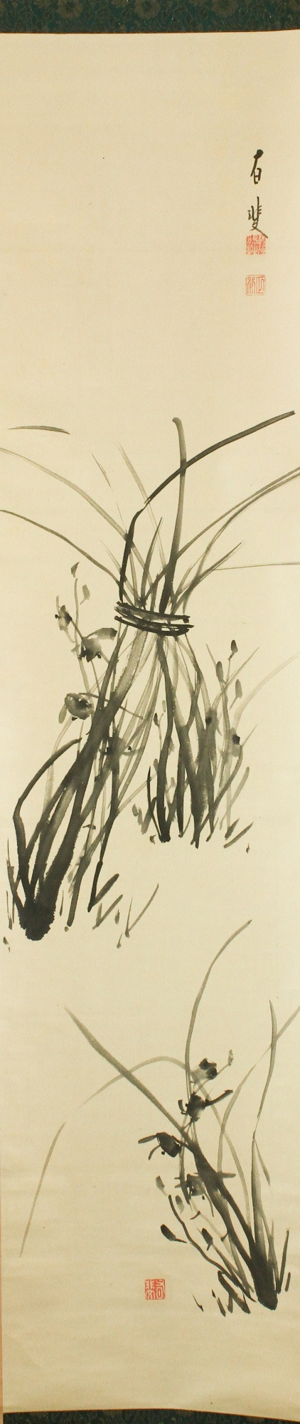 1940s Japanese Ink on Paper Orchid Scroll