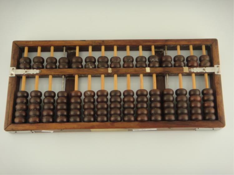 Old Chinese Wood & Bamboo Abacus Manufacturer's Mk