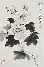 Chinese Peonies Painting Framed Huo Chun Yang