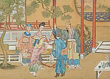 Chinese Court Scene Painting Framed