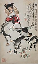 Chinese Girl Riding on Cow Signed Cheng Shi Fa