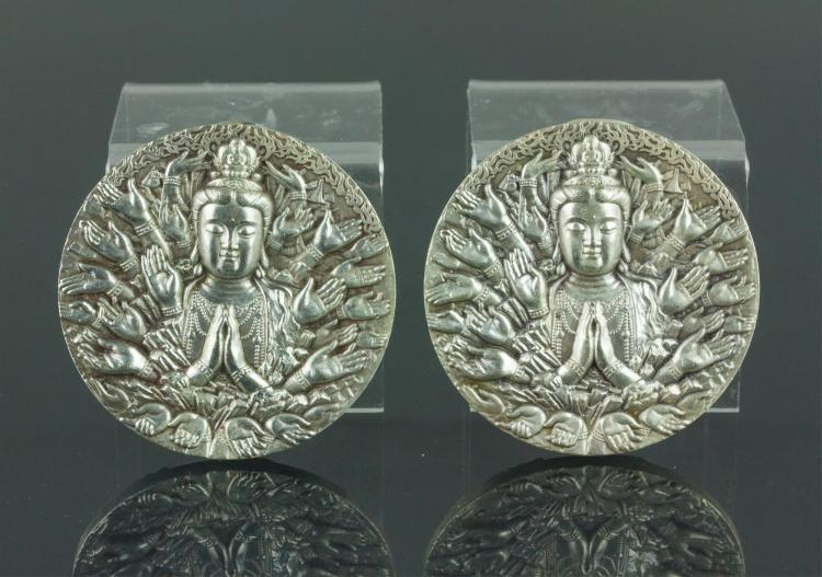 Pair Chinese Silver Guanyin Pendants