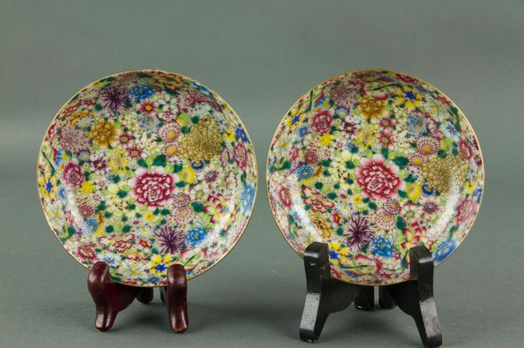 Pair Chinese Mille Fluers Porcelain Plates