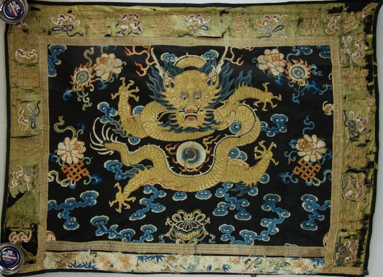 Imperial Dragon Wool Panel 18th Century