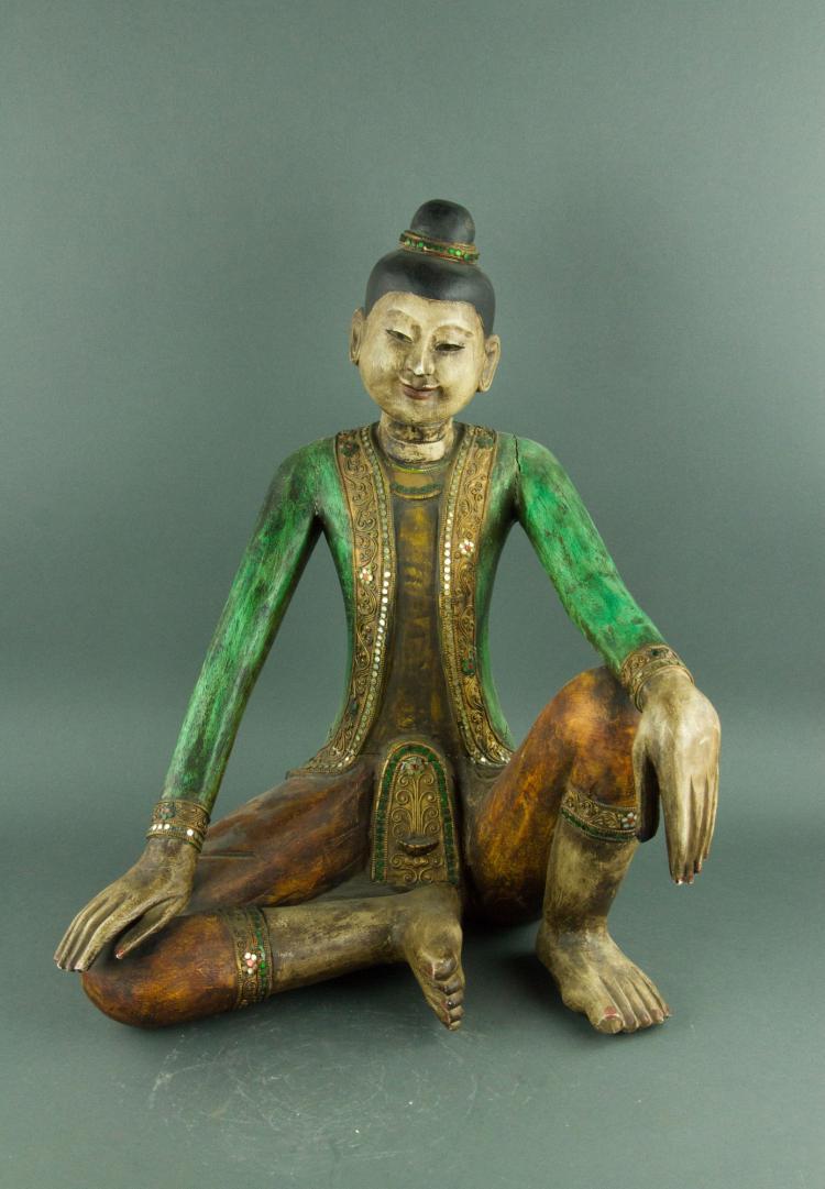 Burmese Wooden Carved Figure