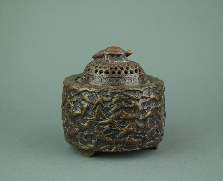 Chinese Bronze Censer with Cover Xuande Mark