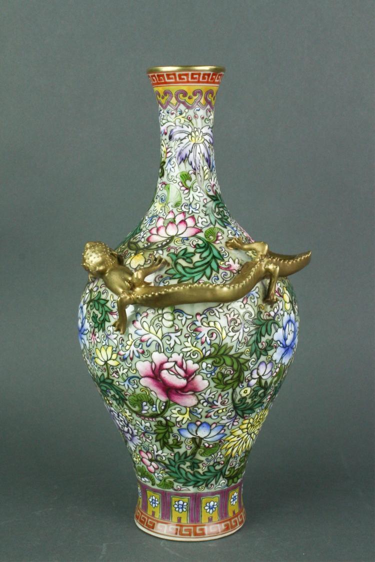 Famille Rose Dragon Porcelain Vase Yongzheng MK