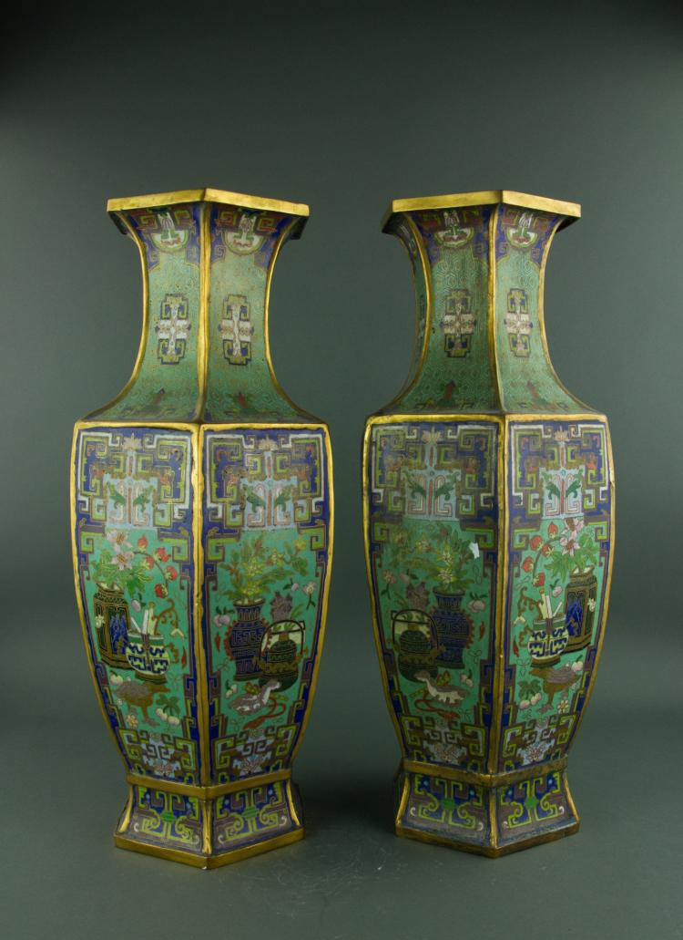 Pair Chinese Fine Bronze Cloisonne Vases Xuande MK